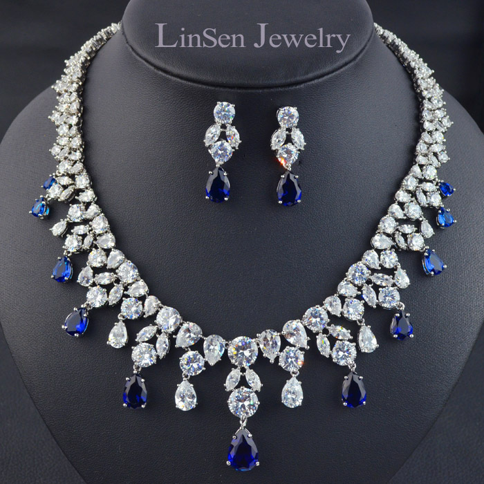 4 colors option high quality luxury AAA CZ Zirconia necklace earring jewelry sets party wedding bridal