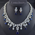 4 colors option high quality luxury AAA CZ Zirconia necklace earring jewelry sets,party/wedding bridal jewelry sets for brides