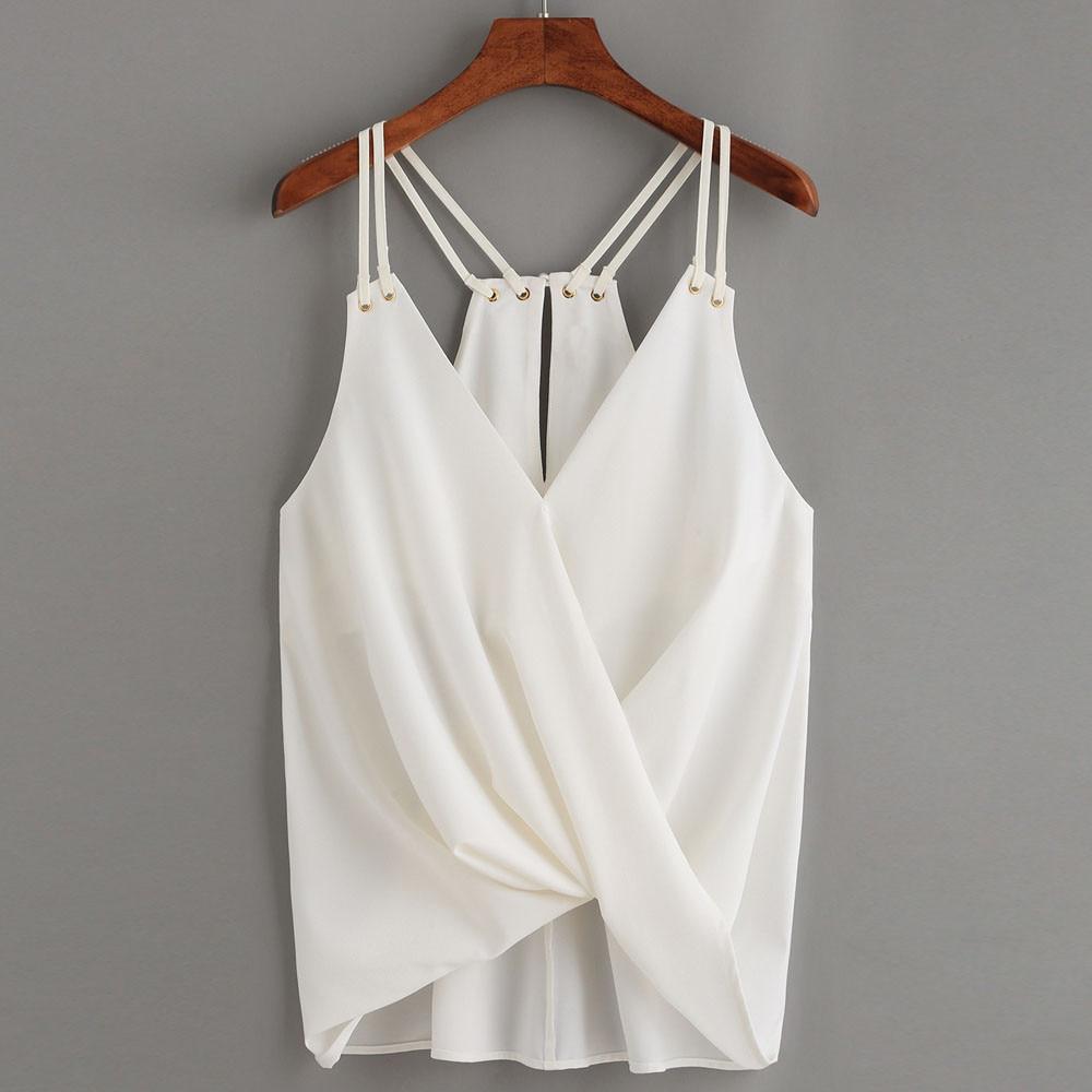 Oversized Summer Chiffon Tops Women Sleeveless Bandage Shirts White Sexy Ladies Cross Crop Top Camis Womens Casual Shirt #YL