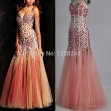 2014 High Qualtiy New Arrival Vestidos de Fiesta Fashion Ruffles Strapless Sweetheart Luxury Beaded Mermaid Long Prom Dresses