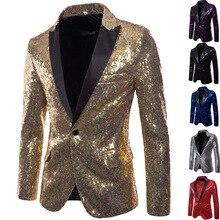 Блестящий блейзер с золотыми блестками, пиджак для мужчин, для ночного клуба, выпускного, мужской костюм, Homme, сценическая одежда для певцов