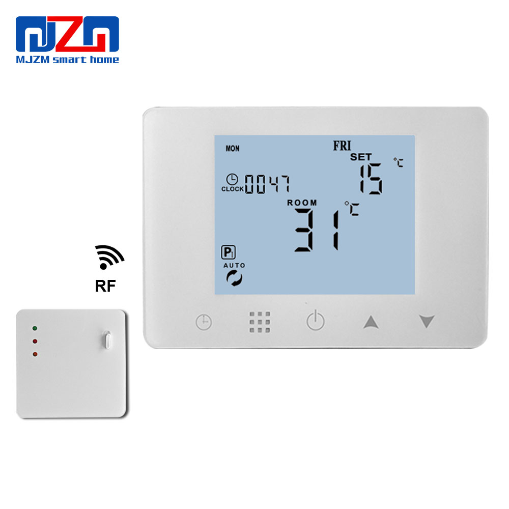 MJZM 433MHZ Wireless Gas Boiler Thermostat RF Control 5A Wall hung Boiler Heating Thermostat AAA Batteries