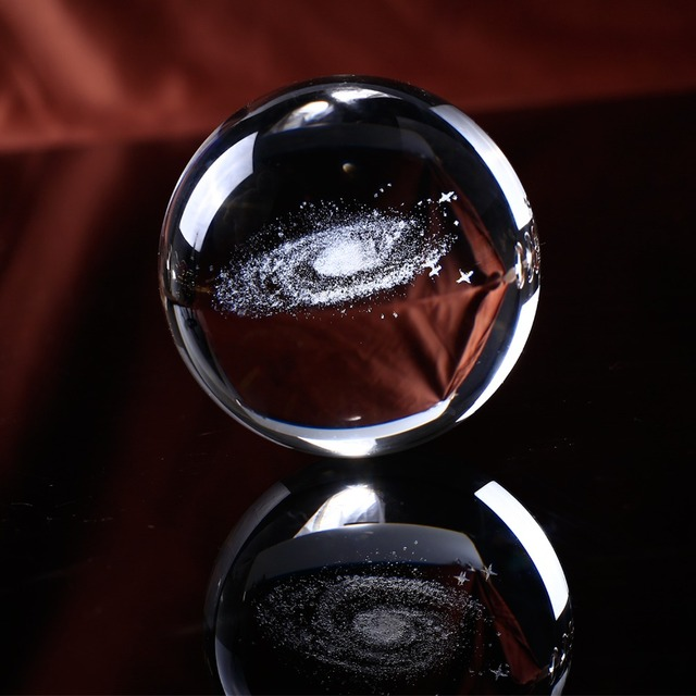 Crystal Galaxy Ball Crystal Galactic Miniature Sculpture Ball Decoration Astronomy Sphere Glass Ornament Gifts Ball