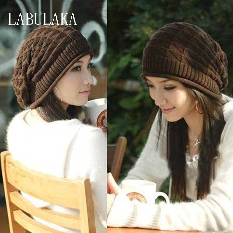 цены 2017 New Winter Hats for Women Autumn Warm Skullies Beanies Knitted Hat Fashion Girls Baggy Slouchy Bonnet Casual Ladies Cap