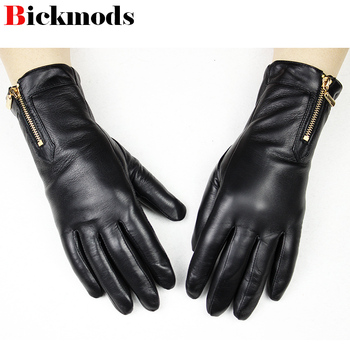 sheepskin gloves women's fashion zipper style  new thick coral cashmere lining warm winter Imported leather gloves m style диван coral