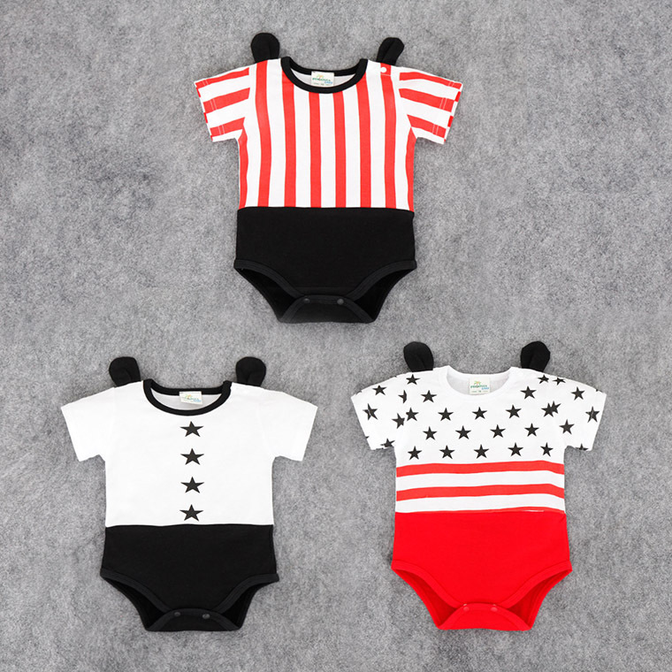 2017 New Born Baby Summer clothes Cotton Rompers, Five Star Striped print Infant Kids Jumpsuits Short Sleeve baby Romper ears new 2016 autumn winter kids jumpsuits newborn baby clothes infant hooded cotton rompers baby boys striped monkey coveralls