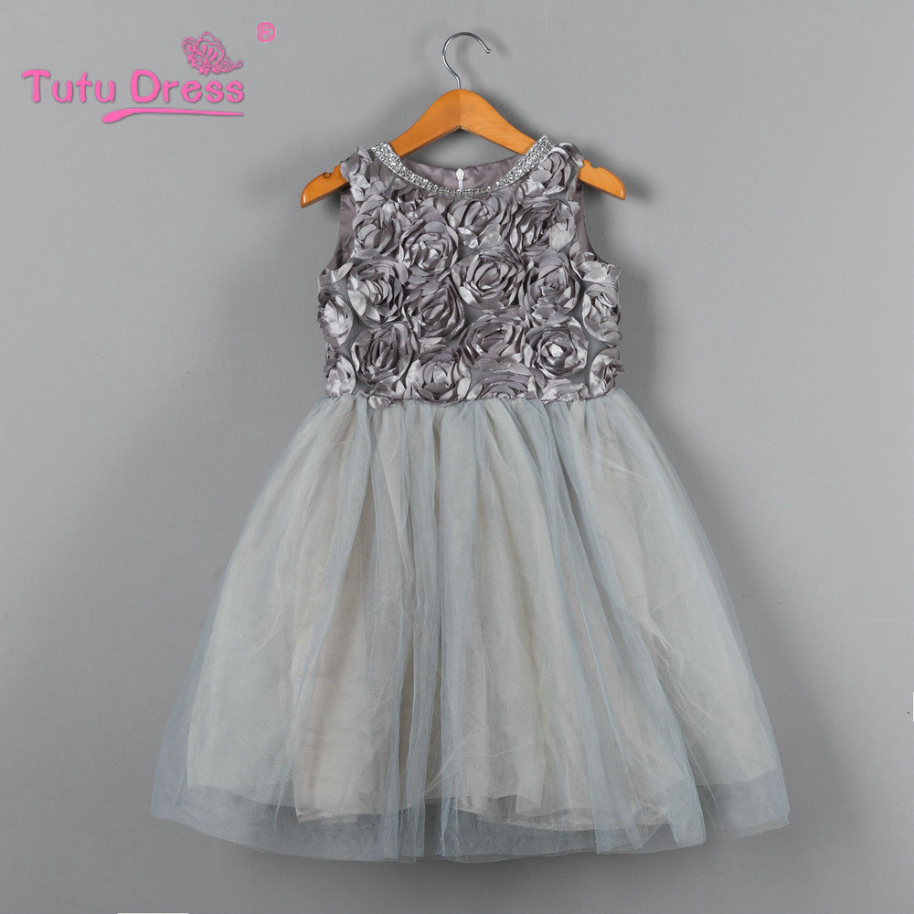 2018 Halloween Girl Dress Princess Wedding Bridesmaid Child Wear Kids Clothes Grey Party Tutu Dresses for Girl Clothes summer princess wedding bridesmaid flower girl dress for child wear kids clothes white party tutu dresses for girl 3 12y