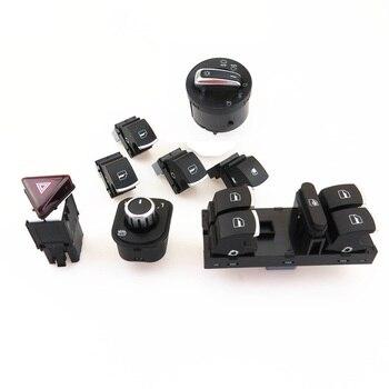 FHAWKEYEQ Chrome reflektor boczne szkło przełącznik główny przycisk ustaw dla VW królik Jetta MK4 Golf MK5 5ND 959 857 5ND941431A 18G953509