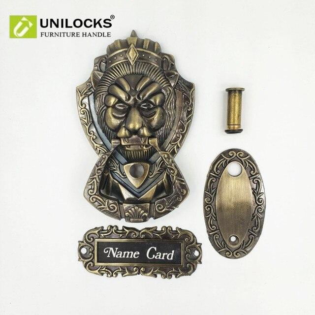 UNILOCKS antik bronz Peep deliği kapı tokmağı aslan Unicorn Beast ile kapı peephole (beden 155mm * 105mm)