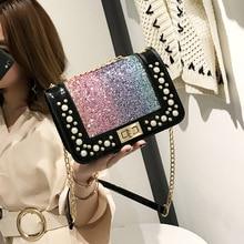 Весенние модные сумки женские дизайнерские сумки высокого качества кожаные сумки с блестками и заклепками на цепочке сумка через плечо