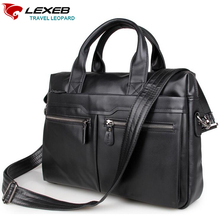 LEXEB márka Teljes Grain Bőr Férfi táska 15 hüvelyk laptop táska Kiváló minőségű alkalmi Office Should Táskák Férfiak fekete