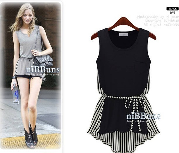 Women's Sleeveless Party Casual irregular Hem Stripe Mini T shirt ...