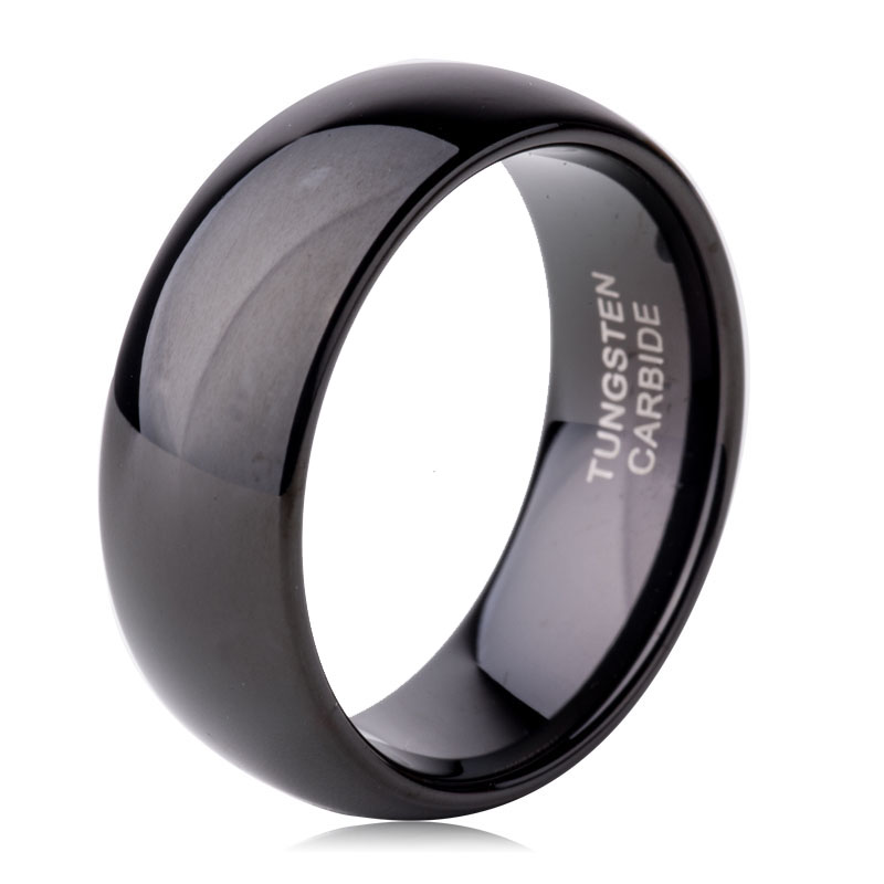 Carved Engrave Jewelry 8mm Black Dome Solid Tungsten