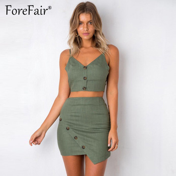 f4c0a2e51a Forefair falda de verano trajes de 2 piezas de las mujeres solo Breasted  botón corbata de lazo Sexy Correa Crop Top y Bodycon pantalones cortos de  falda