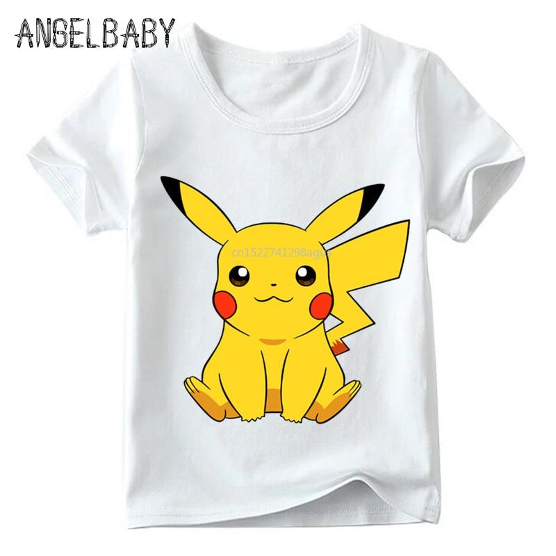 Children POKEMON GO Cute Pikachu Funny T Shirt Baby Boys/Girls Cartoon Summer Tops Kids Casual Comfortable T-shirt,ooo2080