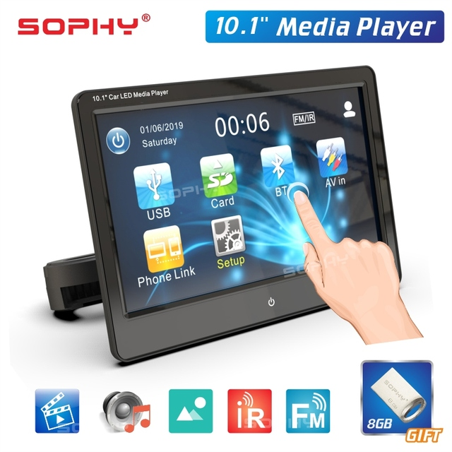 Universal 10.1 Inch Touch Screen Auto Car Headrest Monitor Seat Back MP5 Video Player USB/TF/IR/FM/Bluetooth/Speakers SH1028-MP5