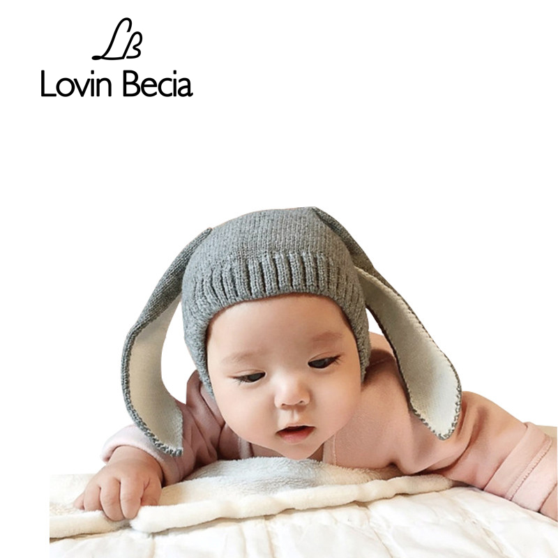 LOVIN BECIA Baby winter hats with rabbit ears for children Cartoon Knitted Baby beanie newborns kids boy girls props caps