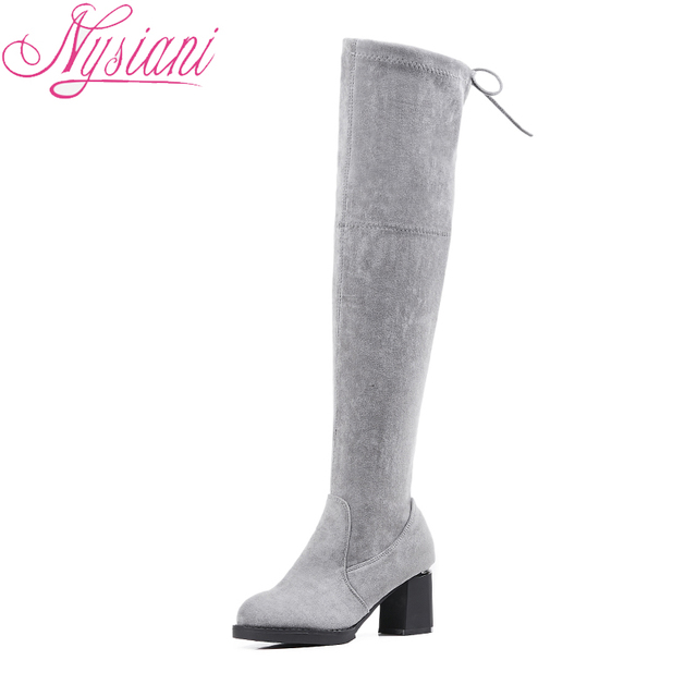 2018 Flock Woman Shoes High Heels Platform Boots Over The Knee Round Toe Fashion Thick Heels Thigh High Long Boots Nysiani