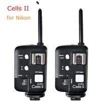 2pcs Godox Cells II High Speed Flash Studio Photo Device Trigger Wireless Remote Flash Sync Speed 1/8000 For Nikon Camera DSLR