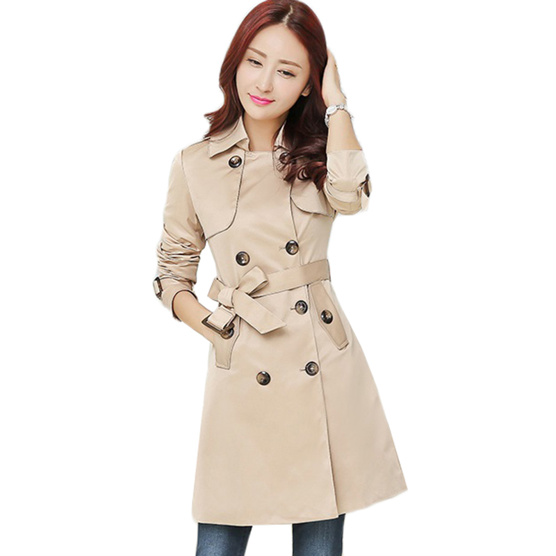 Autumn New High Quality Fashion Double Breasted Mid-long   Trench   Coat Women Khaki Slim Belt Windbreaker Female Outerwear AA205