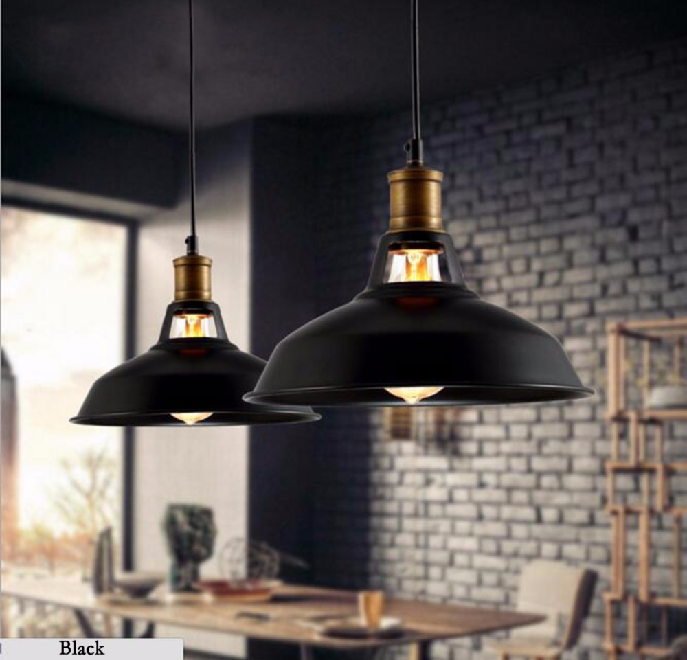 ФОТО Vintage LED Pendant lamp with e27 Edison bulb,Industrial Retro Pendant lights for Kitchen,Dining room Home Black,white 110/220V