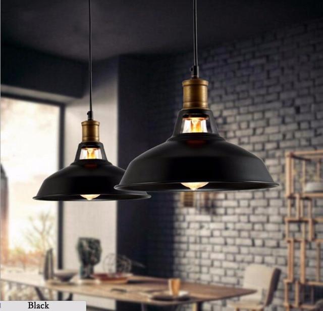Vintage LED Pendant lamp with e27 Edison bulb,Industrial Retro Pendant lights for Kitchen,Dining room Home Black,white 110/220V