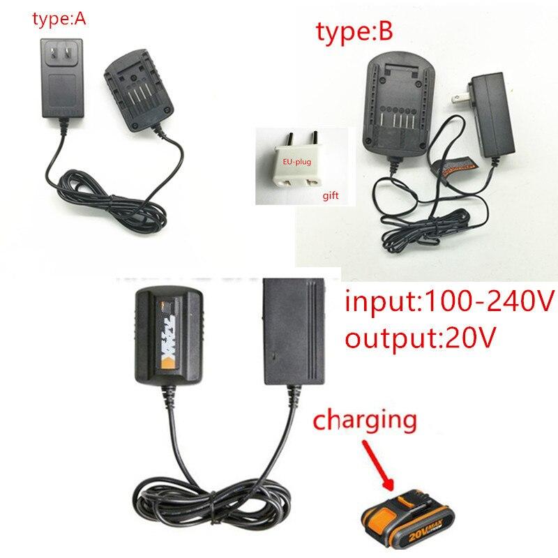 AC220-240V Charger 20V For WORX WA3742 WG155 WG160 WG255 WG545 WA3525 WA3520 WA3732  WA3760 WA3551 WA3553 Rockwell 20V Battery