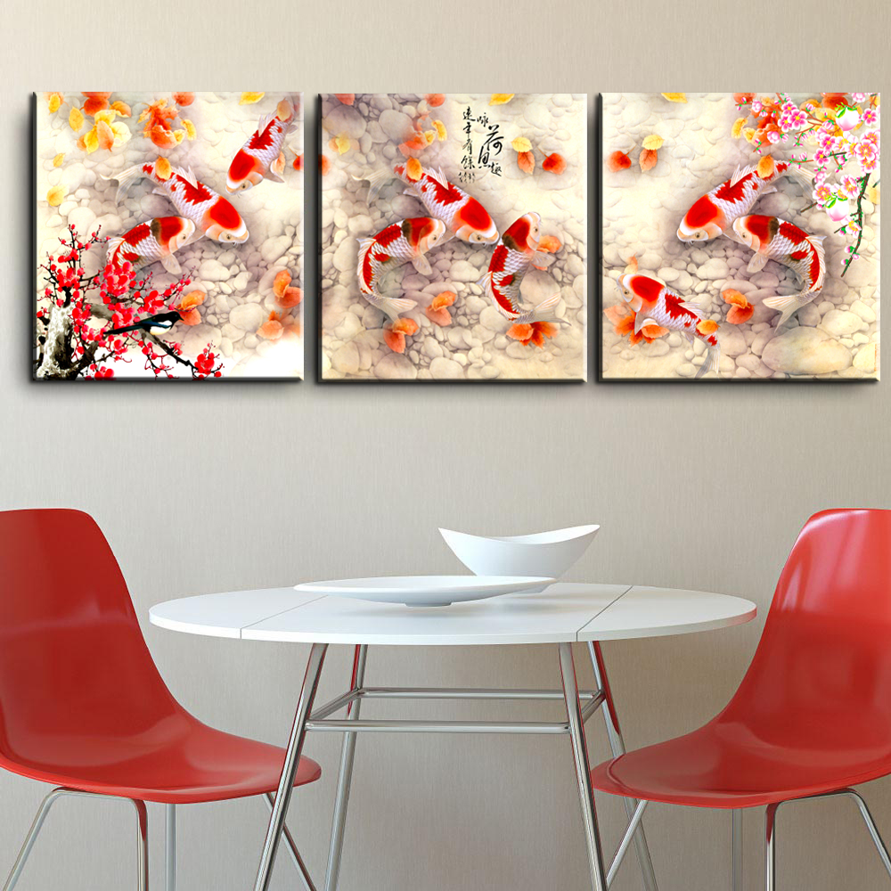 HD Prints Wall Art Picture For Living Room 3pcs Koi Fish Aniamls Canvas Art Painting For Dinner Room Home Decoration Posters