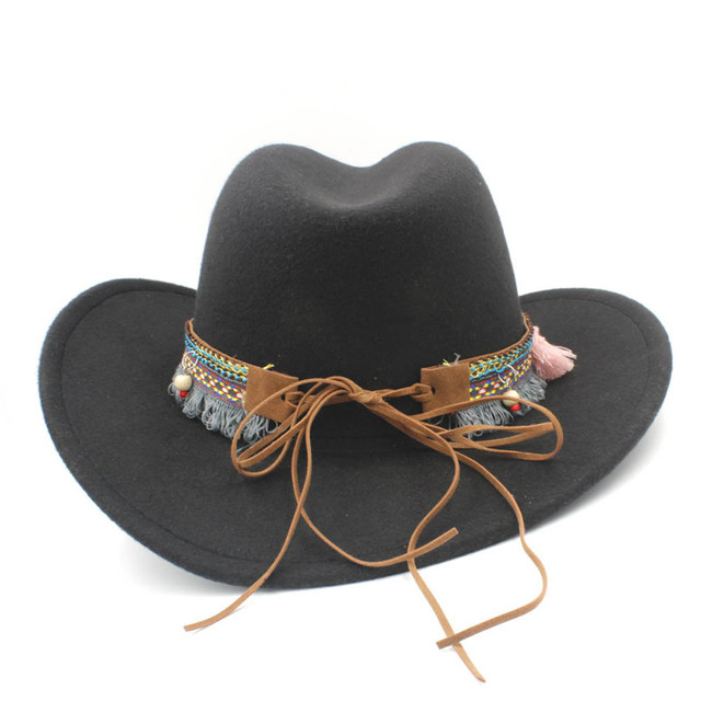 Elegant Wool Hollow Western Tassel Belt Jazz Cowgirl Cap