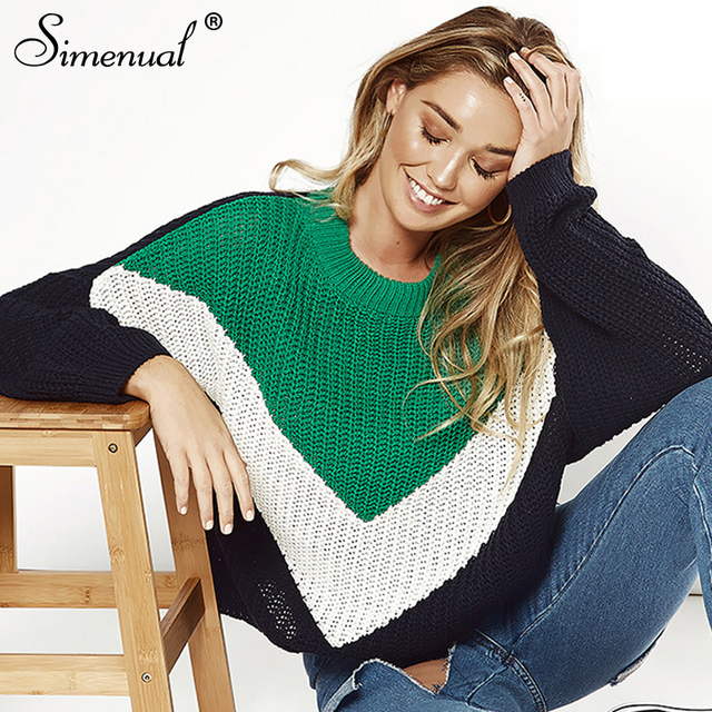 1bd0d5a2 Simenual Patchwork big size women sweaters and pullovers autumn winter  clothing green loose jumper lady's sweater fashion 2018