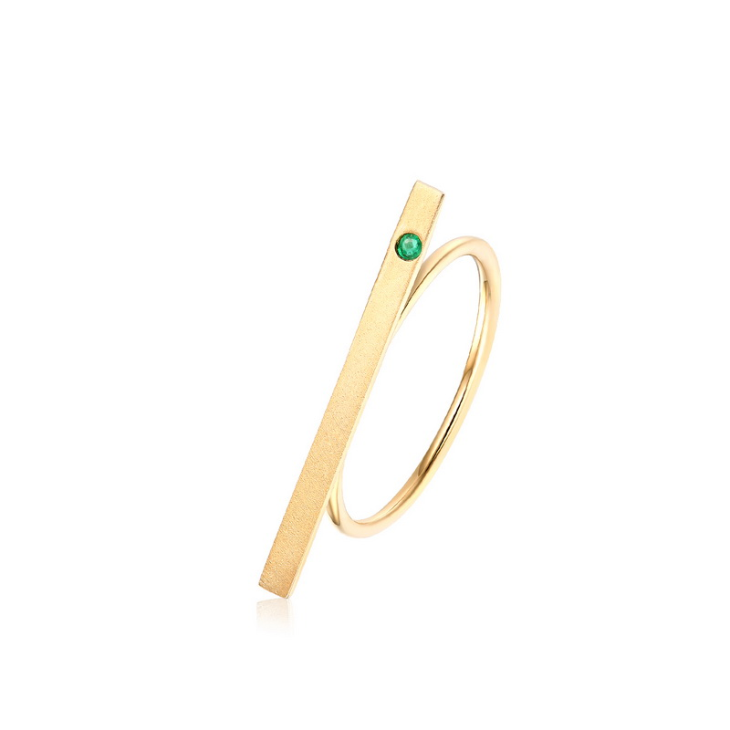 JXXGS Popular Gold Color Natural Emerald Ring 14k Gold Simple Design Ring For Women Decoration