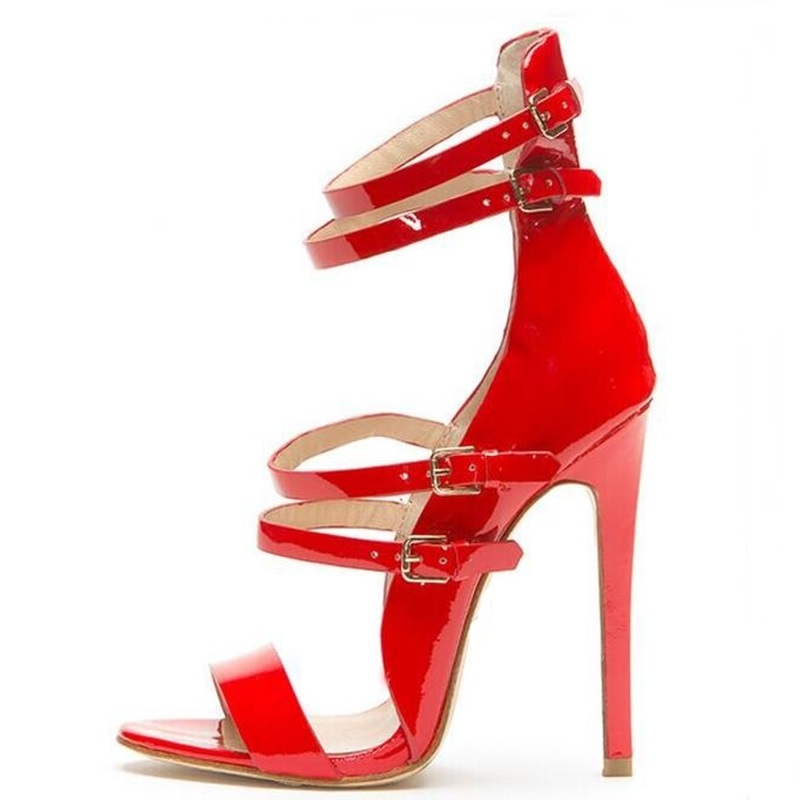 Red Patent Leather Strappy Sandals Cut-out Ankle Strap Buckle High Heel Shoes Peep Toe Cage Shoes Women Summer Dress Shoes red patent leather strappy sandals cut out ankle strap buckle high heel shoes peep toe cage shoes women summer dress shoes