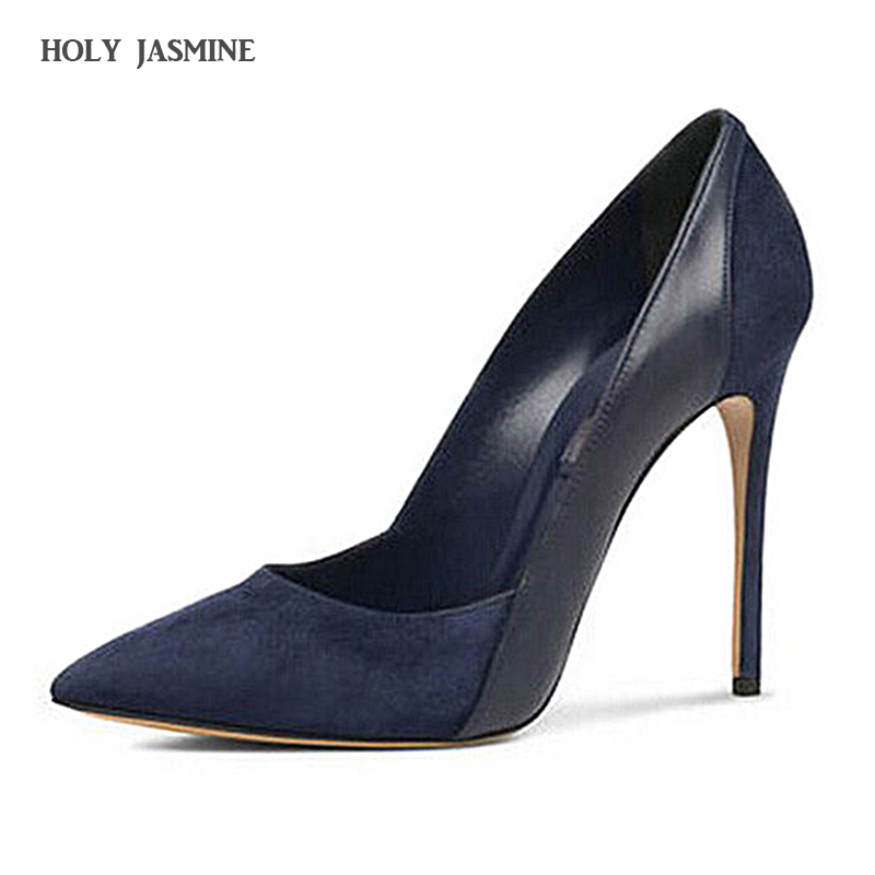 HOLY JASMINE 2017 Spring/Autumn New Fashion Women Thin Heels Flock Pumps Shoes Pointed Toe Lady Sexy Party Woman Shallow Shoes pumps shoes woman spring and autumn high heeled 11cm sexy shallow mouth thin heels flock pointed toe singles shoes size 35 39