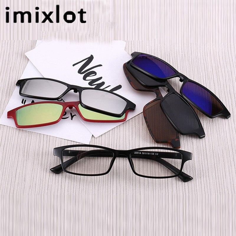 IMIXLOT magnetna sončna očala Clip magnetna zrcalna posnetek na očala Moški Flip polarizirana kratkovidnost Ženske moški recept optično