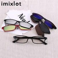 IMIXLOT Magnet Sunglasses Clip Magnetic Mirrored Clip On Eyewear Men Flip Polarized Myopia Women Men Prescription