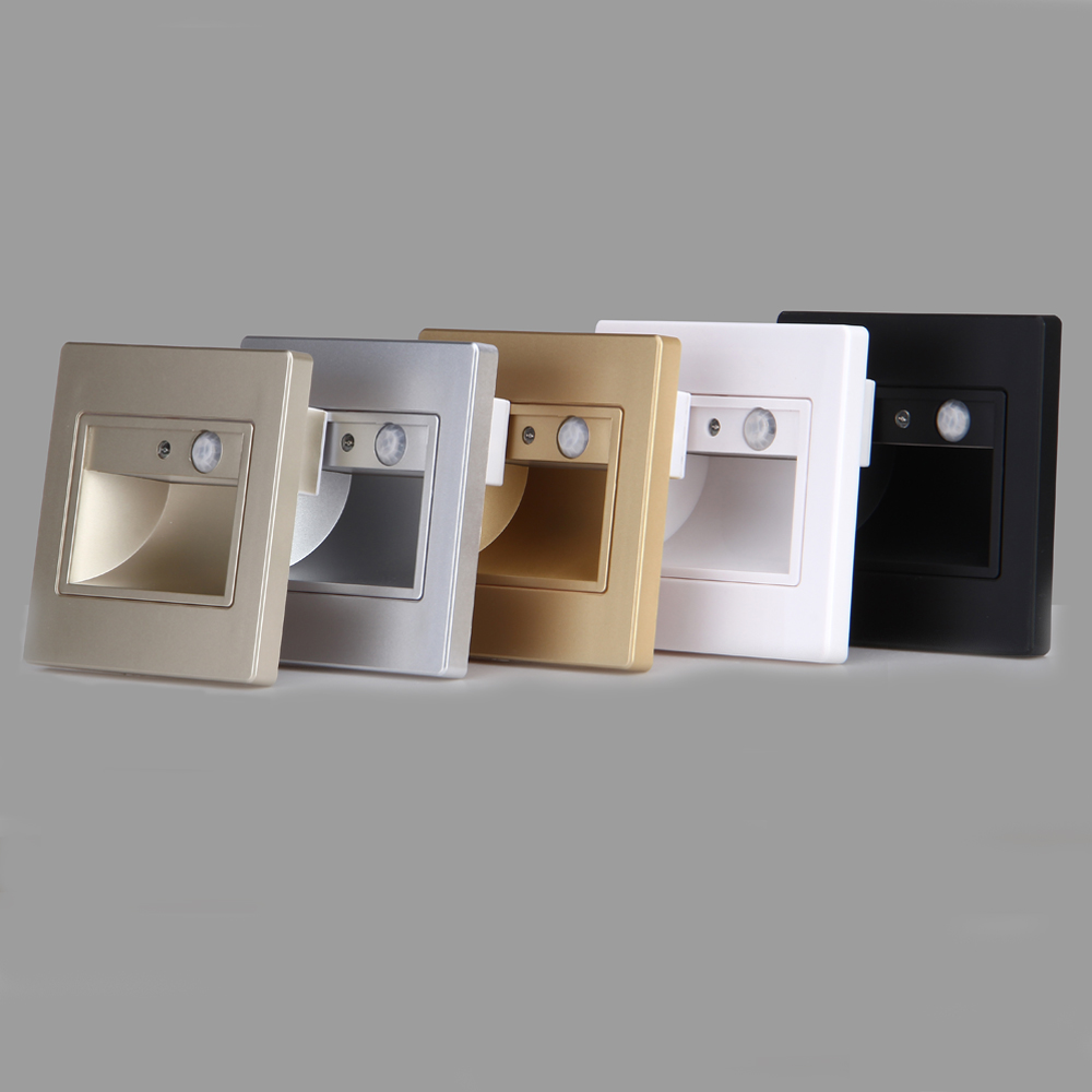Recessed LED Stair Light Indoor Step Light Sensor+PIR Motion Sensor 100-240v Led Ladder Wall Foot Lamp With Mounting Box