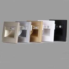 Recessed led 계단 빛 실내 단계 빛 센서 + pir 모션 센서 100 240v led 사다리 벽 발 램프 장착 상자