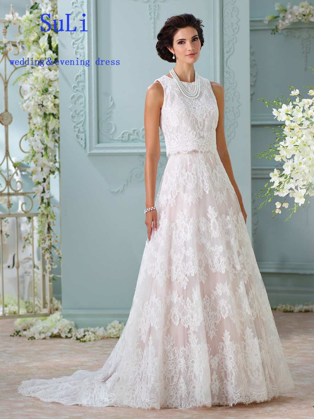 SG78 Two Pieces Crew Lace A Line Wedding Dress Vestio de Novia-in ...