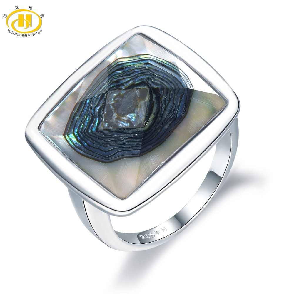 Hutang Shell Jewelry Rings Natural Abalone Shell Solid 925 Sterling Silver Ring Fine Jewelry Unique Design for Women's Best Gift