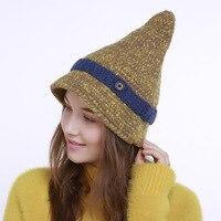 Femmes à la mode D'hiver Bonnet Chapeau Femelle Tricoté Sharp Casual Cap Bonnets Pour Femmes Sorcière Chapeau Casquettes Skullies Bonnet