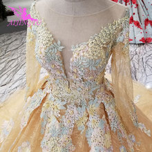 AIJINGYU High Waist Wedding Dress Luxury Sleeve Train Gown