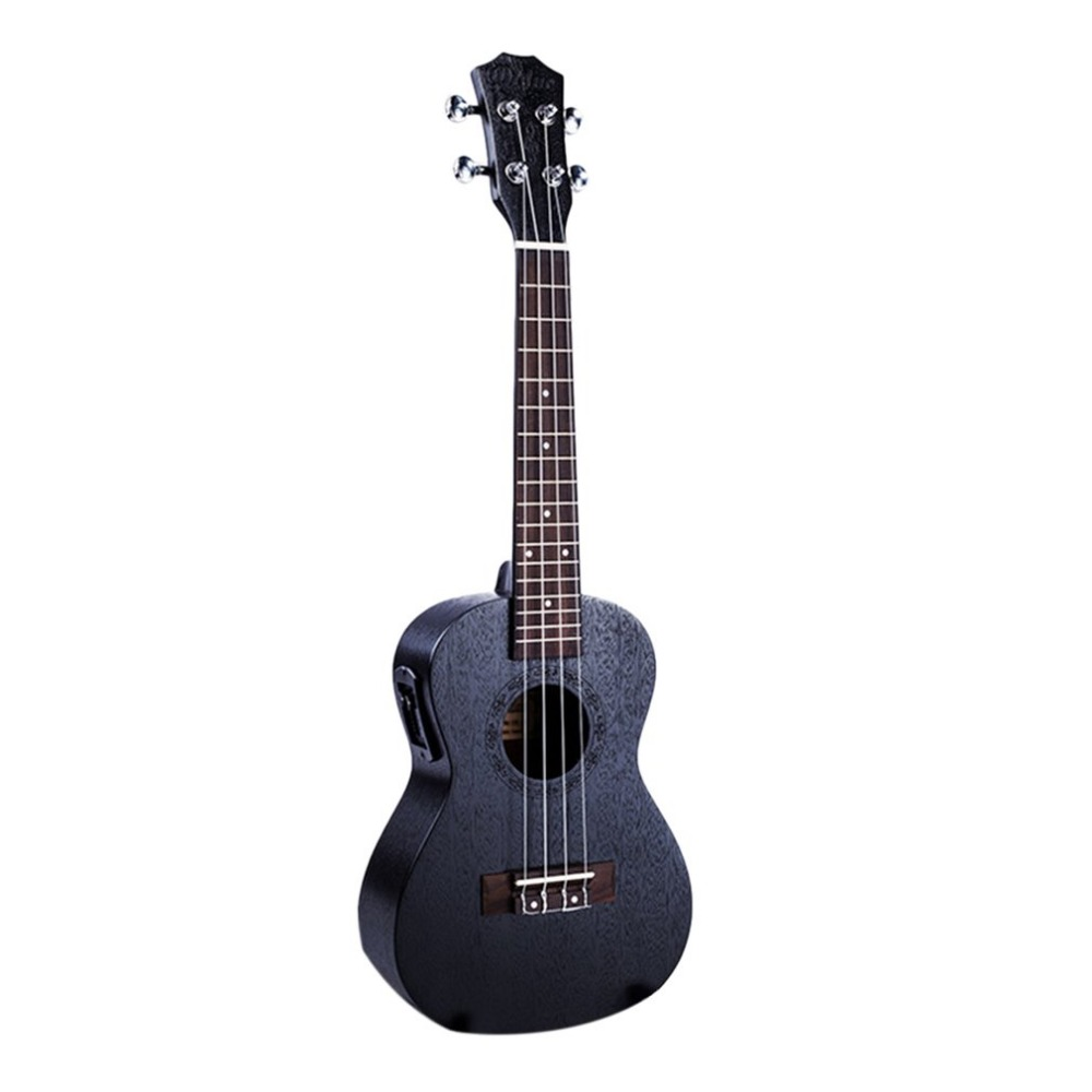 23 Inch Portable Size Black Acoustic Electric Ukulele 4 Strings Mahogany Panel Ukulele Hawaii Guitar Musical Instruments suerte 23 inch ukulele mahogany guitare ukulele 4 strings guitar music instrument electric ukulele rosewood hawaiian 23 black