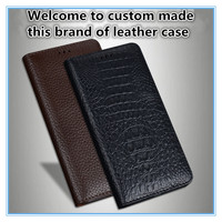 TZ15 Magnet genuine leather flip cover for Huawei P Smart phone case for Huawei Enjoy 7S flip case free shipping