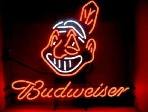 Custom Made Budweiser Cleveland Indians Glass Neon Light Sign Beer Bar
