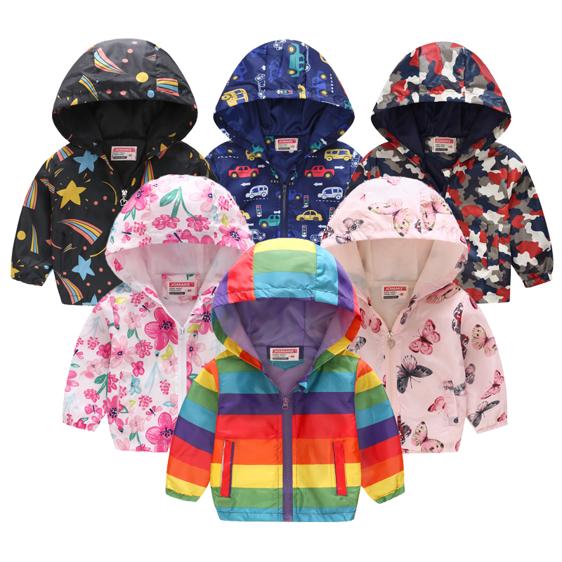 Hot Sale!children Summer Thin Printed Jacket Spring Long Sleeved Cartoon Thin Hooded 2-6Y Boys Girl Cute Zipper Shirt Windbreake(China)