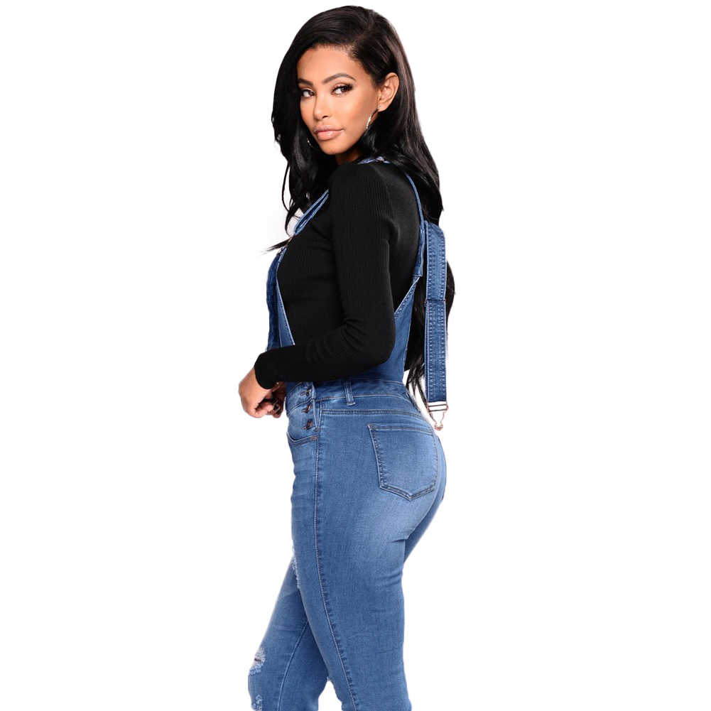 ... 2018 New Women Denim Overalls Ripped Stretch Dungarees High Waist Long  Jeans Pencil Pants Rompers Jumpsuit ... 3fd383a0b3b7