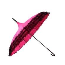 Pink Long Handle Hook Rain Gear Lady Princess Lace Pagoda Umbrellas For Straight Bar Semi Automatic Sunshade Umbrella Women Z539