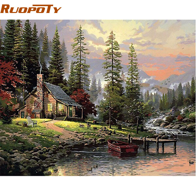 RUPSOTY Frame Field House Landscape DIY Painting By Number Painted Painted Oil Painting Art Picture Wall For Decoration Home 40x50cm