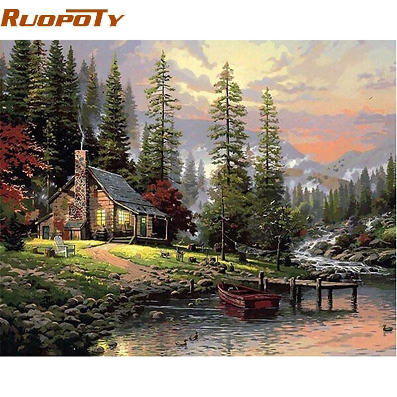 RUOPOTY Rahmen Feld Haus Landschaft DIY Malerei Durch Anzahl Handgemalten Ölgemälde Wand Kunst Bild Für Home Dekoration 40x50cm