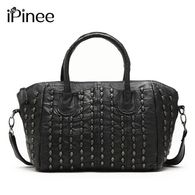 Ipinee Designer Handbags Famous Brand Skull Tote Bag Genuine Leather Smile Shoulder Bags For Women